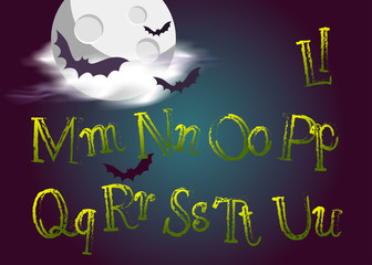 Halloween Jumping Letters. Evil Vector Type in Gothic Style for Halloween Card.