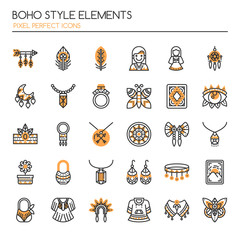 Boho Style Elements , Thin Line and Pixel Perfect Icons.