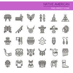 Native American , Thin Line and Pixel Perfect Icons.
