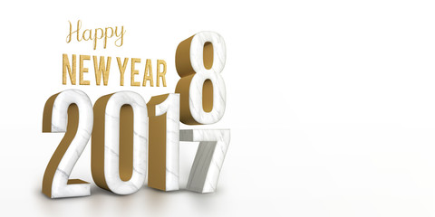 year 2017 marble and gold texture number change to 2018 new year in white studio room, New year greeting card banner for display of design content, 3d rendering.