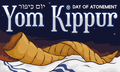 Shofar Horn over Tallit in a Dawn of Yom Kippur, Vector Illustration
