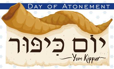 Shofar Horn over Scroll Announcing Jewish Yom Kippur, Vector Illustration