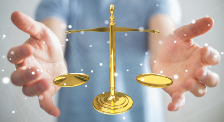 Businessman with justice weighing scales 3D rendering