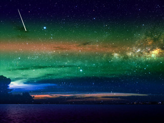 meteor fall on dark cloud and night sky over city