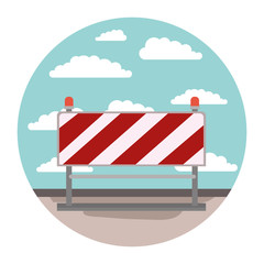 traffic barrier in circular shape colorful silhouette