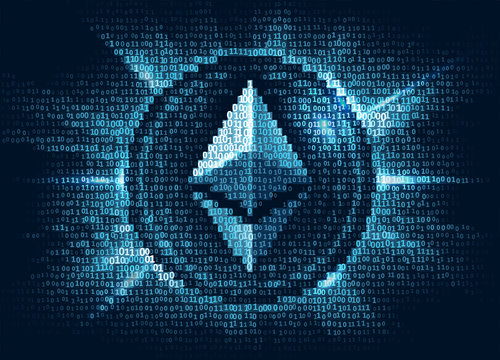 Virtual ethereum digital currency consist of binary code