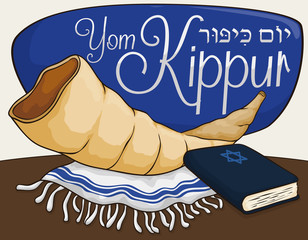 Shofar Horn, Tallit and Book for Prayers in Yom Kippur, Vector Illustration