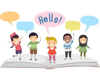 Stickman Kids Language Book Speech Bubbles