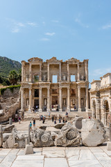 General view of Ancient Celsus Library at Ephesus historical ancient city, in Selcuk,Izmir,Turkey:20 August 2017