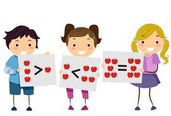 Stickman Kids Apples Math Symbols Illustration
