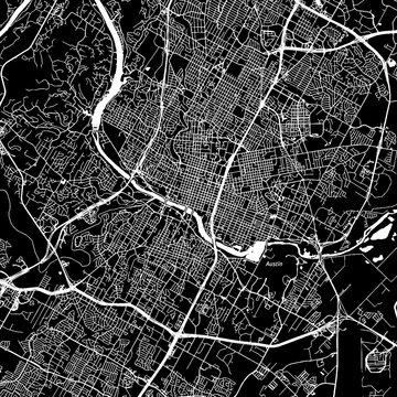 Austin, Texas. Downtown vector map.