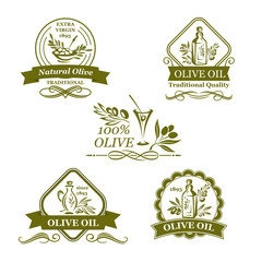 Olive oil bottle and olives vector icons