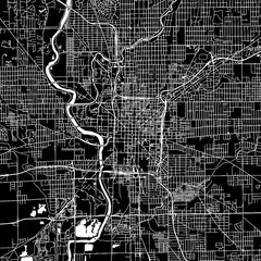 Indianapolis, Indiana. Downtown vector map.