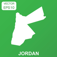 Jordan map icon. Business concept Jordan pictogram. Vector illustration on green background.