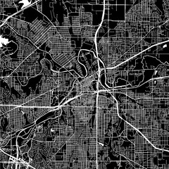 Fort Worth, Texas. Downtown vector map.