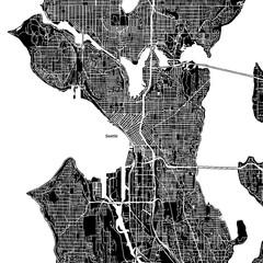 Seattle, Washington. Downtown vector map.