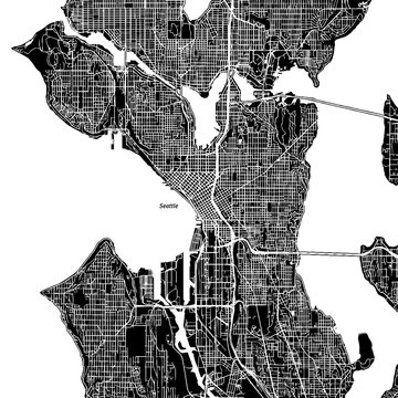 Seattle, Washington. Downtown vector map.