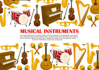 Vector music poster of musical instruments