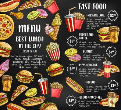 Fast food restaurant menu vector sketch poster