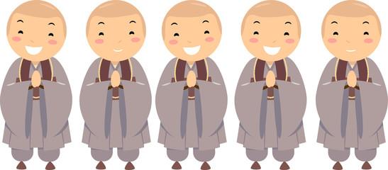 Stickman Kids Boys Korean Buddhist Illustration