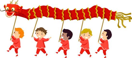 Stickman Kids Dragon Dance Boys Illustration