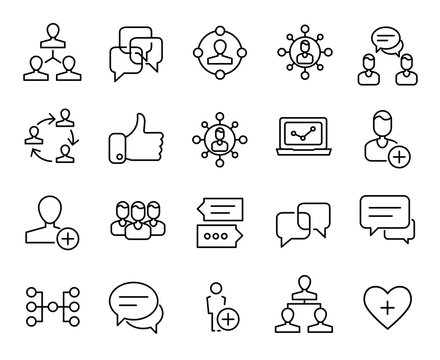 Premium set of social network line icons.
