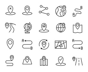 Premium set of route line icons.