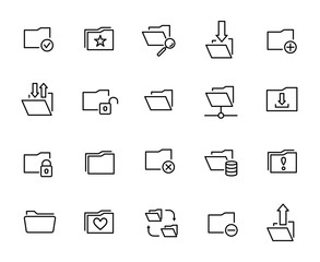 Premium set of folder line icons.