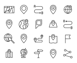 Premium set of map line icons