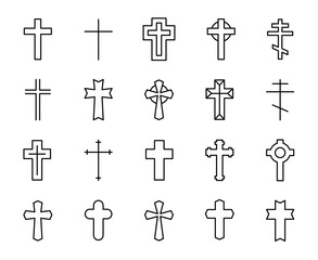 Premium set of Christian cross line icons.