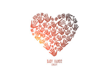 Baby hands concept. Hand drawn a lot of prints baby hand. Kid hands in shape of heart isolated vector illustration.