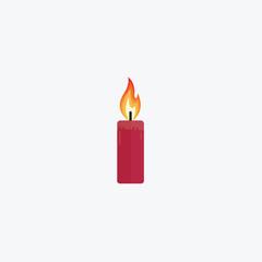 Flat Burning Candle Illustration