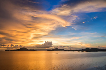 Landscape of Sunset sea beach in,Myanmar.