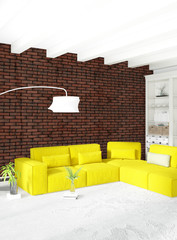 Modern bedroom yellow sofa luxury minimal style Interior loft design with eclectic wall. 3D Rendering.
