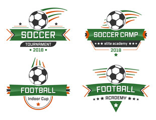 Sport vector logotype. Football academy. Indoor Cup. Soccer Camp and Tournament.