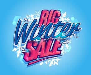 Big winter sale poster or banner