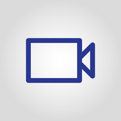 Isolated flat linear vector movie, video or cinema button icon for web or app development