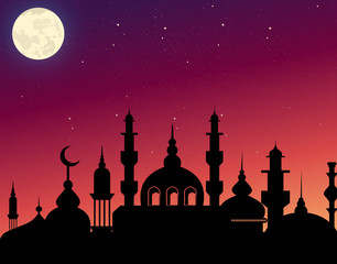 Vector illustration of beautiful silhouette arabic architecture on evening sky background with stars and moon. Ramadan Kareem concept in flat style.