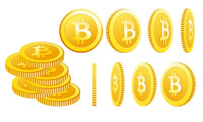 Vector illustration of bitcoin icons isolated on a white background in different positions. Simple symbol cryptocurrency in flat cartoon style.