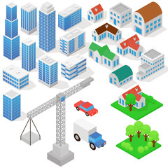 Industrial based on isometric projection of a three-dimensional houses, buildings, cranes, cars and other design elements necessary creative designers for web projects vector illustration in flat
