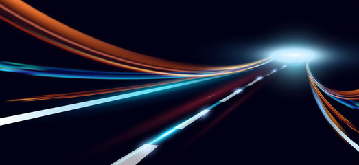 Vector illustration of dynamic lights. High speed road in night time abstraction. City road car light trails motion background. Fotomurales