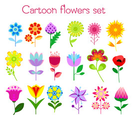 Vector illustration set of cartoon style colorful flowers in bright colors. Isolated on white for greeting cards, Easter, thanksgiving, scrap booking.