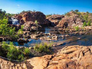 Panoramic view at the upper waterfall and pools of Edith Falls  in the Nitmiluk National Park, Northern Territory,  Australia.