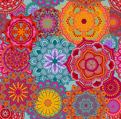 Seamless background pattern with mandalas, eps10 vector