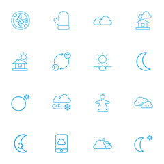 Set Of 16 Editable Climate Outline Icons. Includes Symbols Such As Moon, Glove, Cloudy And More. Can Be Used For Web, Mobile, UI And Infographic Design.