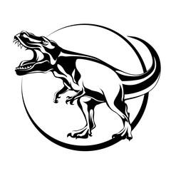 silhouette of mascara, carnivorous aggressive dinosaur Tyrannosaurus