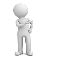 3d man presenter standing and pointing hand at blank space isolated over white background with shadow . 3D rendering.