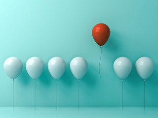 Stand out from the crowd and different concept , One red balloon flying away from other white balloons on light green pastel color wall background with window reflections and shadows . 3D rendering.