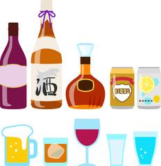 瓶や缶入りの酒とグラス