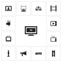 Set Of 13 Editable Filming Icons. Includes Symbols Such As Tv, Movie Strip, Oscar And More. Can Be Used For Web, Mobile, UI And Infographic Design.